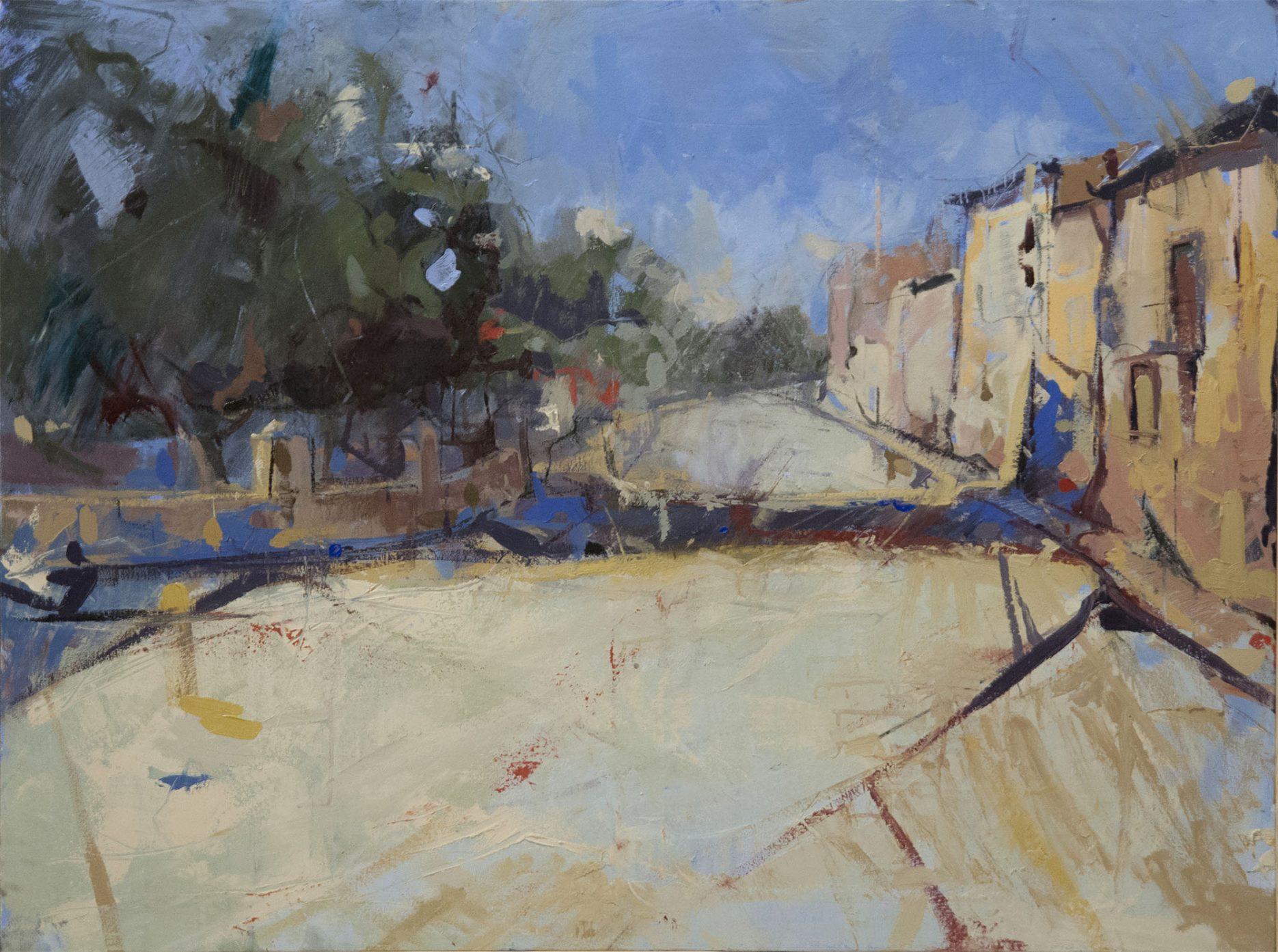 Pintura La curva del puente del artista Sánchez del Castillo del proyecto Ayllón, una investigación sobre el paisaje