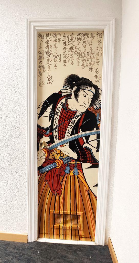 Pintura de Sánchez del Castillo con referencia de Utagawa Kuniyoshi (1798-1861). Stories of the True Loyalty of the Faithful Samurai, #4 Fuwa Katsuemon Masatane