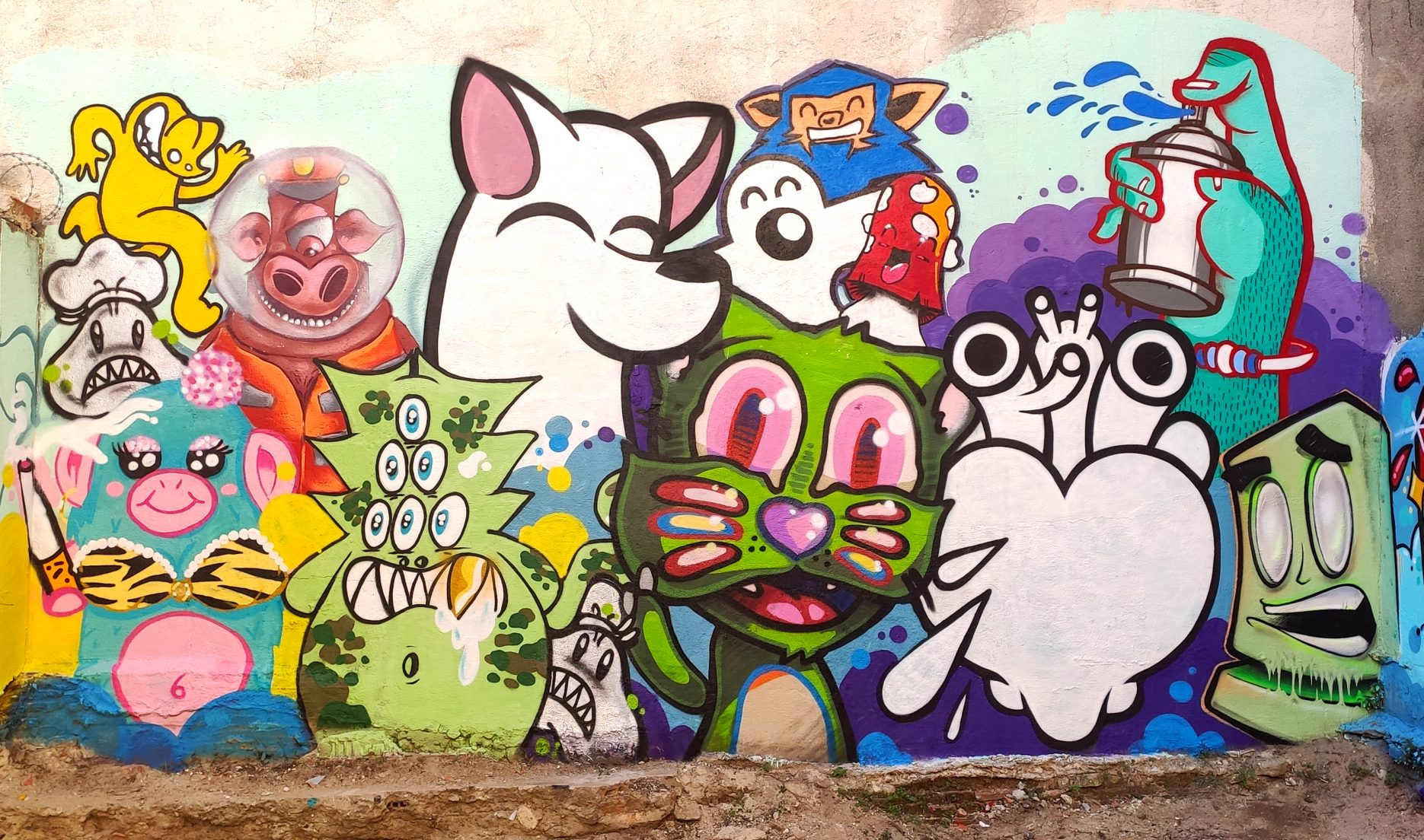 Pintura mural 01 realizada en el evento Puppet Jam en PVA Sputnik Vallekas