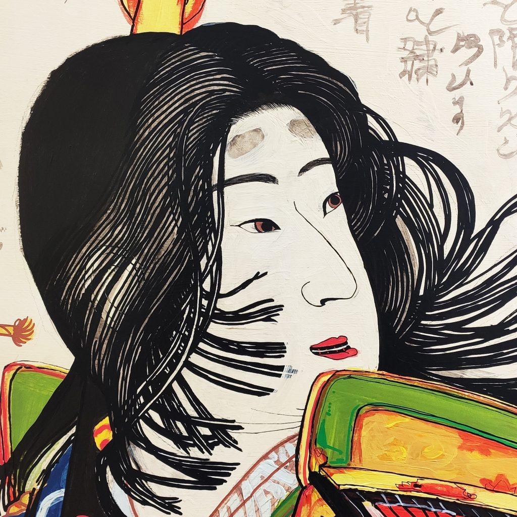 Detalle 01 de la pintura de Tomoe Gozen en Bjj Madrid Academy
