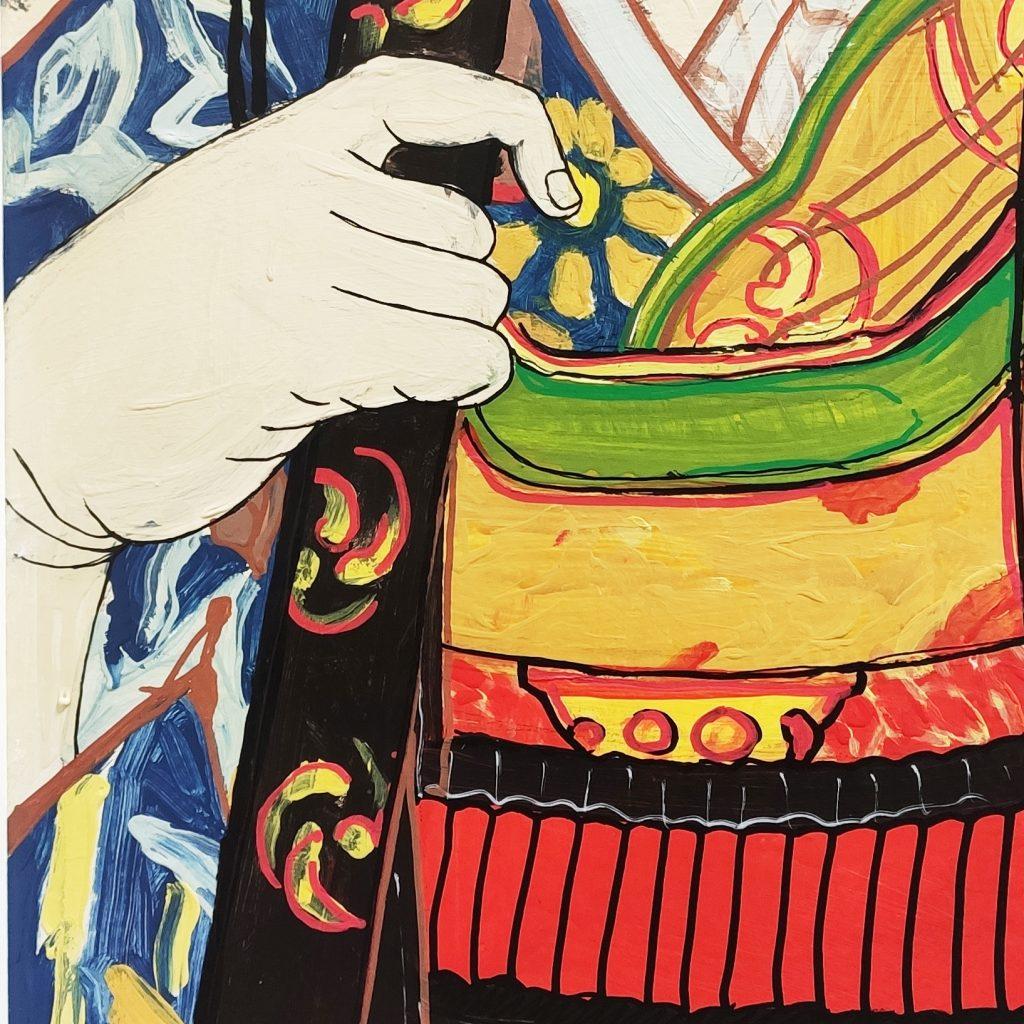 Detalle 02 de la pintura de Tomoe Gozen en Bjj Madrid Academy