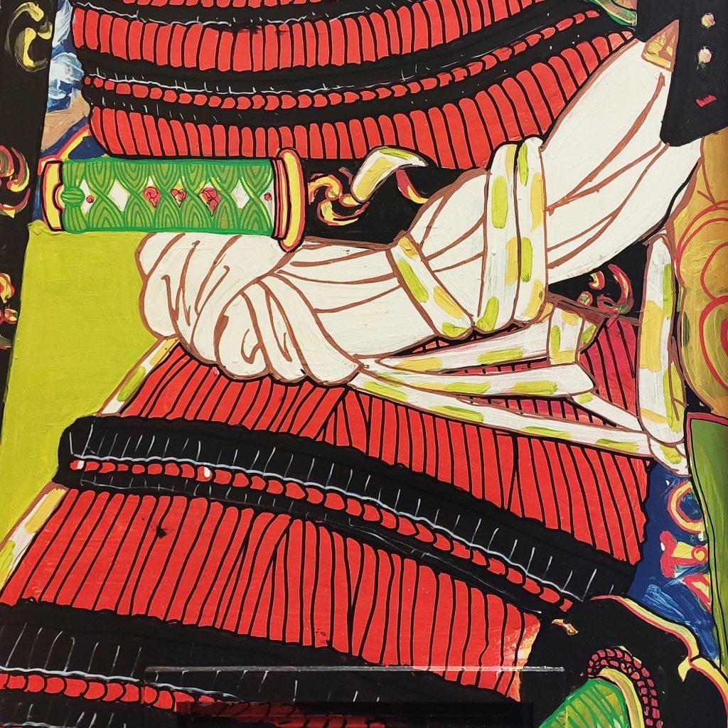 Detalle 03 de la pintura de Tomoe Gozen en Bjj Madrid Academy