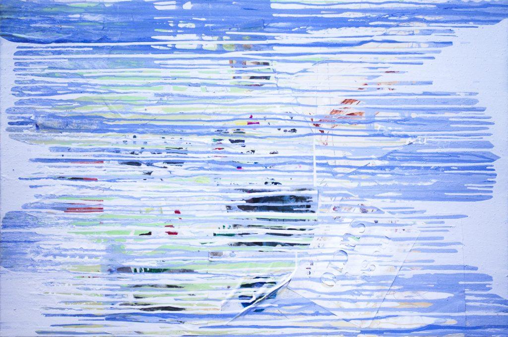 Pintura Patrón aleatorio (Blanco y Azul) del artista Sánchez del Castillo